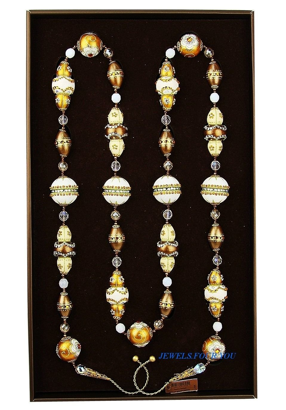 JAY STRONGWATER COLORFUL GOLDEN 70'' FESTIVE GARLAND CHRISTMAS ORNAMENT
