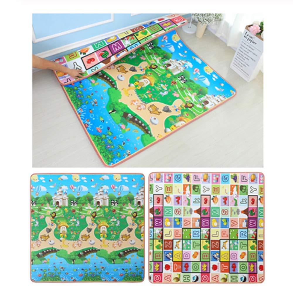 Castel 150cmX180cmx2cm Tapis de jeu ZSHBO Tapis de jeu épais pour bébé en mousse Tapis double face Tapis pour tout-petits en développeHommest pour   Infan Jouets pour tapis pour enfants, castel, 300cmX180cmx1cm