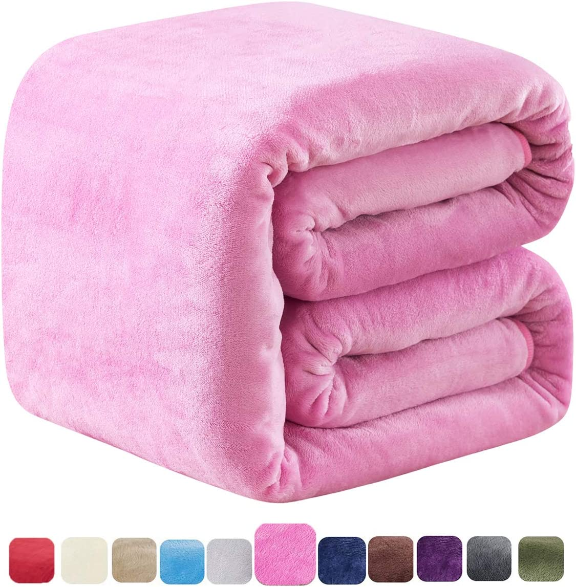 SOFTCARE Soft Twin Size Summer Blanket All Season 350GSM Thicken Warm Fuzzy Microplush Lightweight Thermal Fleece Blankets for Couch Bed Sofa Pink 66 90
