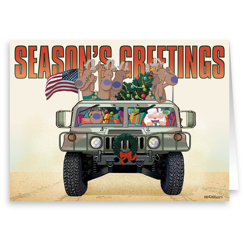 Amazon.com: Santa Makes Delivery to Troops - Military Theme ...
