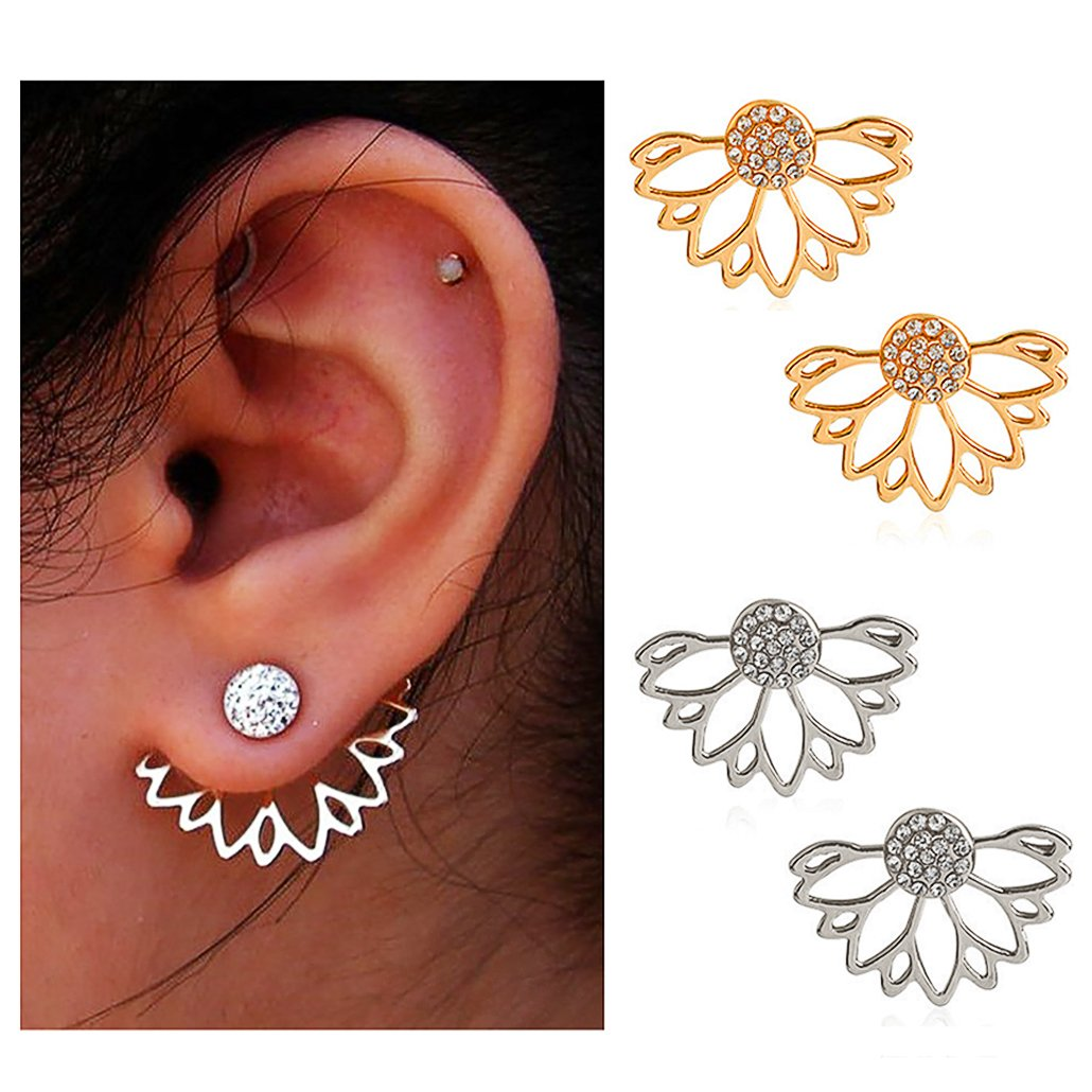 Amazon Suyi Fashion Hollow Lotus Flower Earrings Crystal Simple