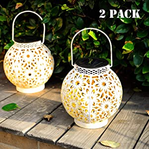 Walensee Solar Outdoor Lights, Hanging Garden Lantern for Patio, Yard. Metal Decorative Waterproof Table Lamp, Retro LED Light with Handle on Tree for Pathway and Lawn.White Warm Decor Lantern, 2 pack