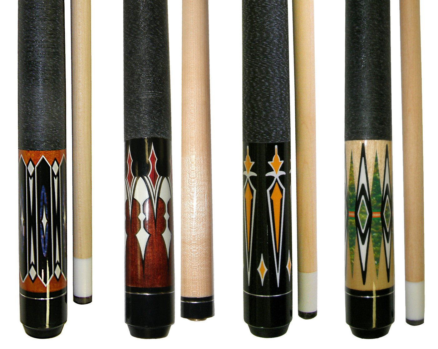 Lot of 4-58'' 2 Piece Hardwood Canadian Maple Pool Cue Billiard Table Stick 18-21 Oz with Steel Joint (set8)