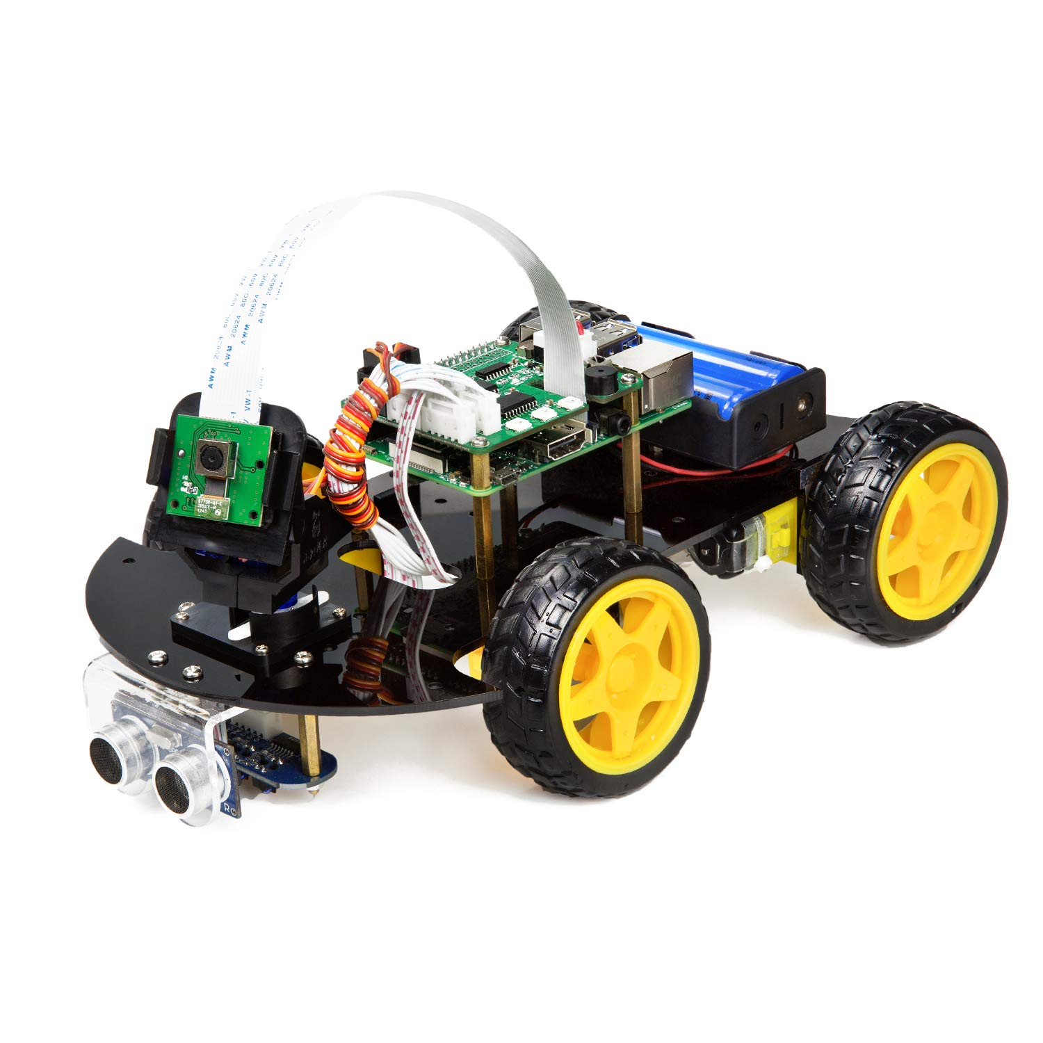Ultrasonic Sensor and App Control Obstacle Avoidance with Camera Module Line Tracking UCTRONICS Robot Car Kit for Raspberry Pi Real Time Image and Video Line Follower