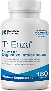 Houston Enzymes TriEnza – 180 Capsules (90 Doses) | Broad-Spectrum Enzymes for Digestive Intolerances | Supports Digestion of Gluten, Casein, Soy, Proteins, Carbohydrates, Sugars, Fats & Polyphenols