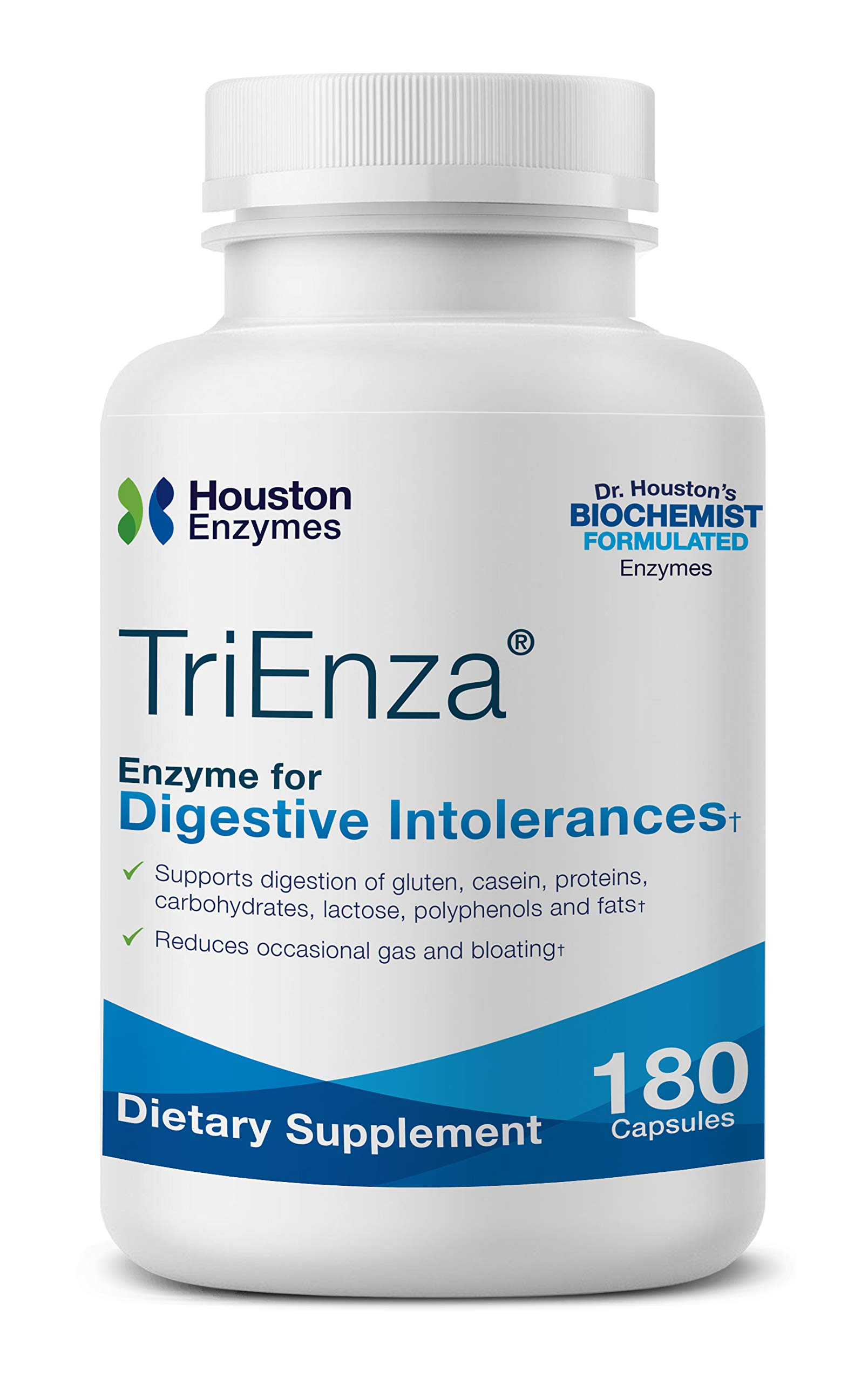 Houston Enzymes TriEnza - 180 Capsules (90 Doses) | Broad-Spectrum Enzymes for Digestive Intolerances | Supports Digestion of Gluten, Casein, Soy, Proteins, Carbohydrates, Sugars, Fats & Polyphenols by Houston Enzymes