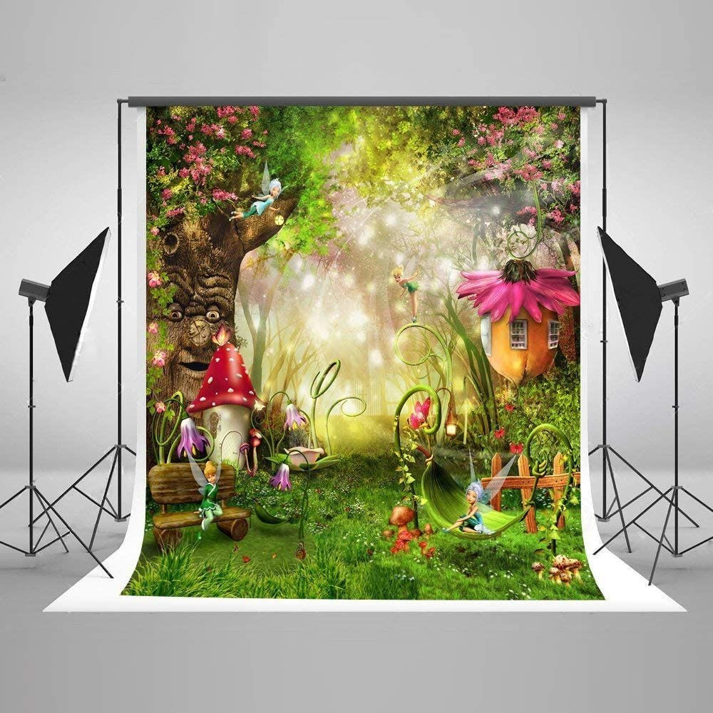 Photography Backdrop 5 x 7 Fairy Tale Flowers Garden Background Newborn Fantasy Forest Background Newborn