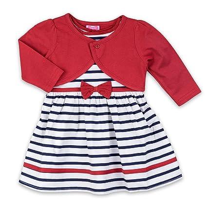 5d9402ddf5 Chica vestido y Bolero Juego Rojo Azul Blanco Rayas Talla 12-18 Monate (