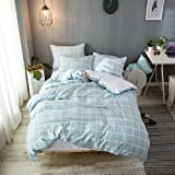Merryfeel Cotton Duvet Cover Set,100% Cotton Yarn Dyed Waffle Weaven Check Duvet Cover Set,3 Pieces Bedding Set- Full/Queen
