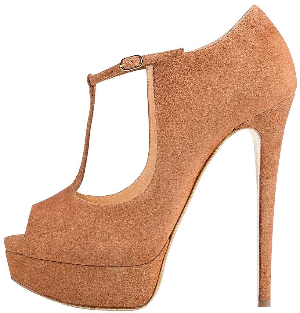 Calaier Mujer Catofu Tacón De Aguja 15CM Sintético Hebilla Zapatos de tacón 41.5|Marrón