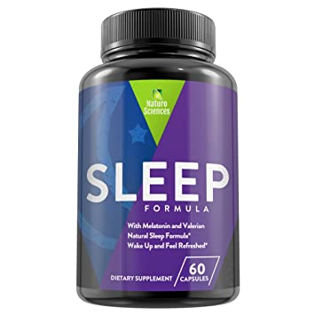 Natural Sleep Aid Dietary Supplement by Naturo Sciences - Melatonin & Valerian, Proprietary Blend -
