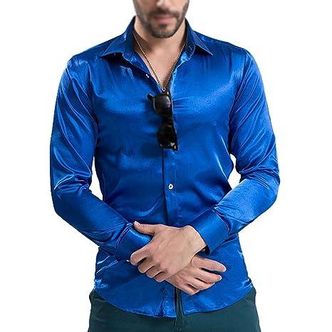 a6bdb7e2f143 TOOGOO(R) Shiny Uomo Tempo libero Abbigliamento Uomo Maglietta di alta  qualita' Seta