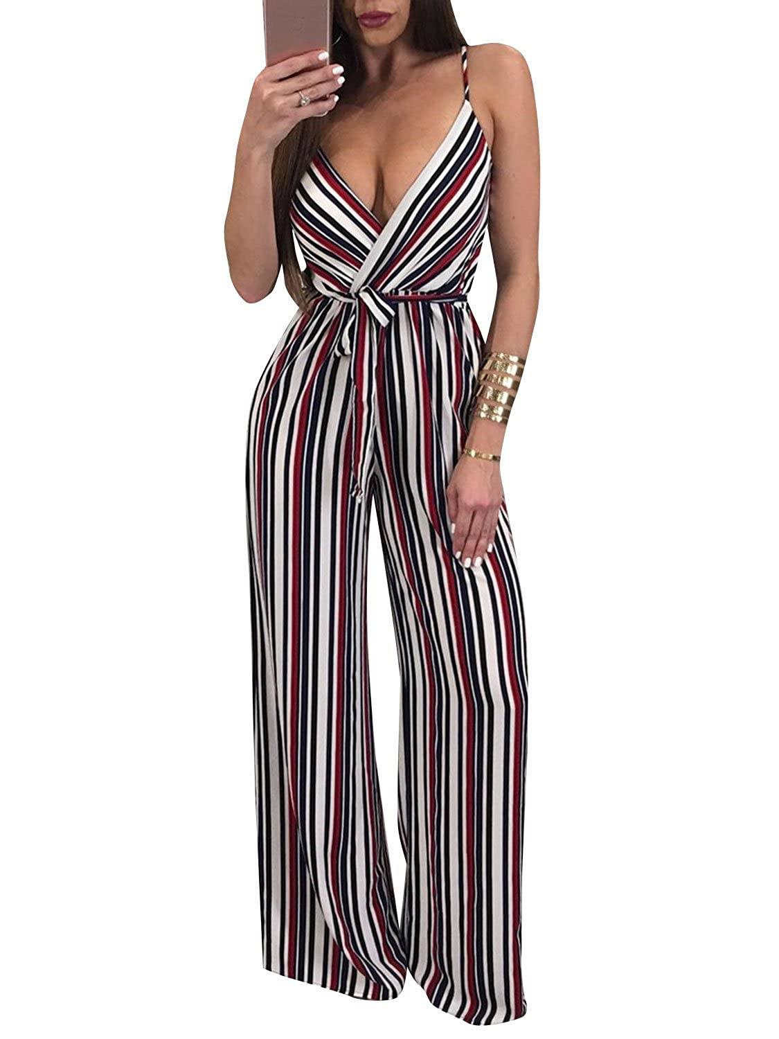 f6515321267 Amazon.com  Glamaker Women s Sexy Deep V Neck Strap Backless Tie Waist  Jumpsuit Sleeveless Wide Leg Pants Suit  Clothing