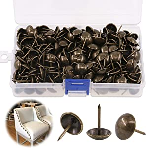 """Keadic 300Pcs [ 9/16"""" in Diameter ] Antique Upholstery Tacks Furniture Nails Pins Assortment Kit for Upholstered Furniture Cork Board or DIY Projects - Bronze"""