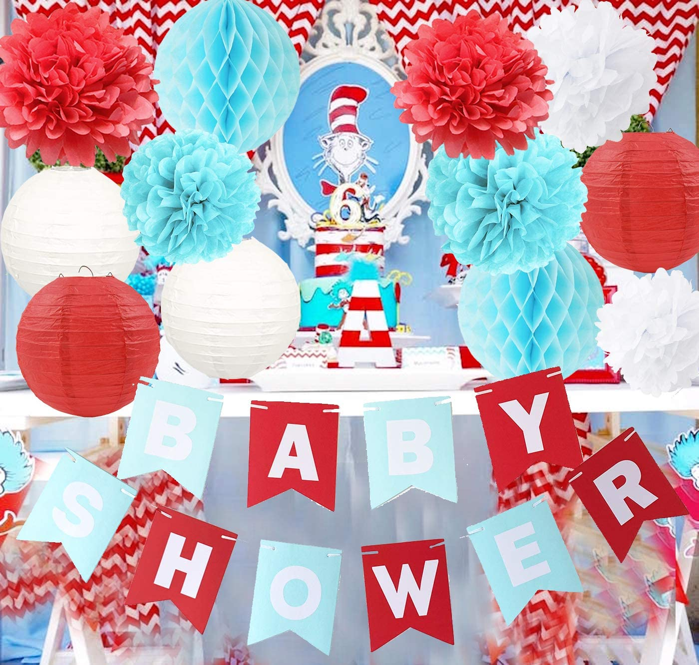 Dr. Suess Cat in The Hat Party/Airplane/Dr Suess Baby Shower Decorations Blue White Red Tissue Paper Flower Honeycomb Balls/Circus Carnival Party Decorations/Dr. Seuss Cat in The Hat Baby Shower
