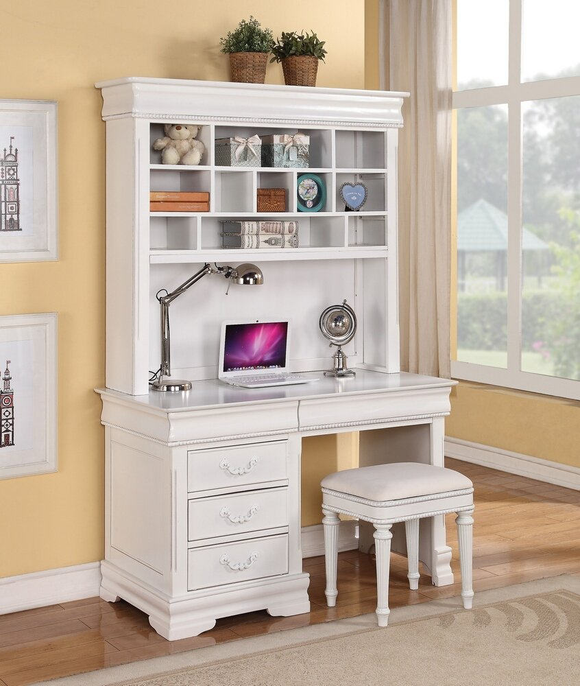 Classique collection white finish wood children's desk hutch and stool by ACM (Image #1)