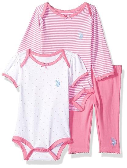 2fa831b8def4 Amazon.com  U.S. Polo Assn. Baby Girls  Creeper and Legging 3 Piece ...