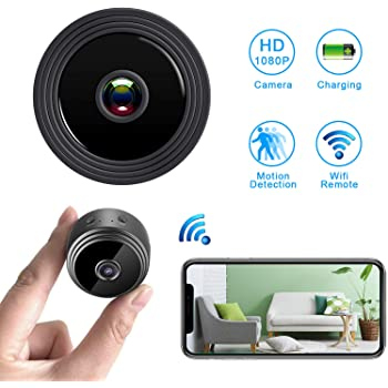 Mini Spy Camera WiFi Hidden Camera,HD 1080P Wireless Security Camera for Home Nanny Cam with Night Vision Motion Detection, Built-in Magnetic Fit for ...