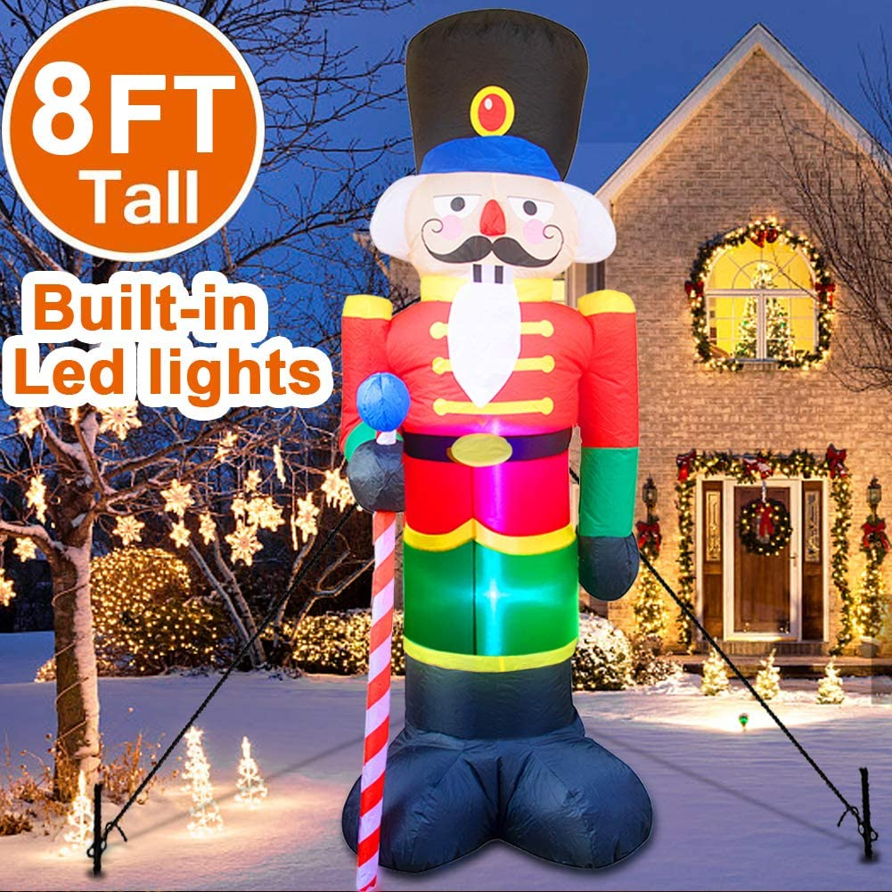 8 Foot Christmas Inflatable Nutcracker Soldier Outdoor Decorations, Light Up Inflatable Santa Claus Soldier with 3 LED Lights Blow Up Decorations for Yard Lawn Garden Xmas Decor (4 Stakes 2 Tethers)