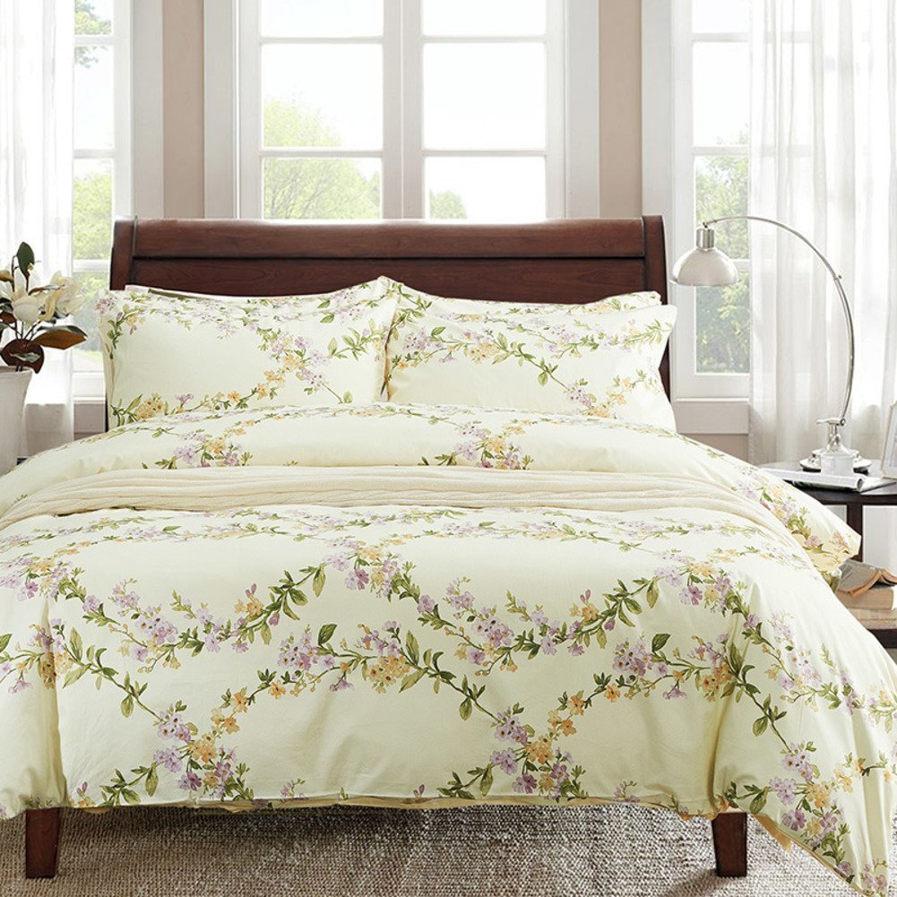 Windflower Bedding Bloomfield Floral Duvet Cover 3pc Set Cotton Botanical Nature Vines Branches Birds Butterflies