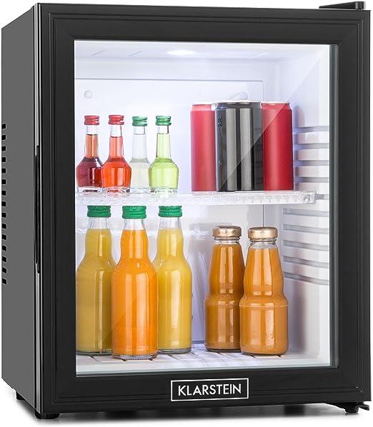 Klarstein MKS-13 Nevera minibar vinoteca con puerta de cristal transparente (Funcionamiento silencioso - 0 dB, puerta transparente, 1 estante interiro, capacidad 36 litros) Negro: Amazon.es: Jardín