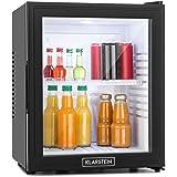 Klarstein • MKS-13 • Minibar • Mini-Kühlschrank • Getränkekühlschrank • A • 32 Liter • geringer Energieverbrauch • leiser Betrieb • 0 dB • 1 Regaleinschub • höhenverstellbar • Glastür • 3-stufiger Temperaturregler • matt-schwarzes Gehäuse • schwarz