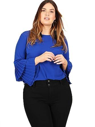 Lovedrobe GB Women/'s Plus Size Cobalt Double Pleated Sleeve Bardot Top