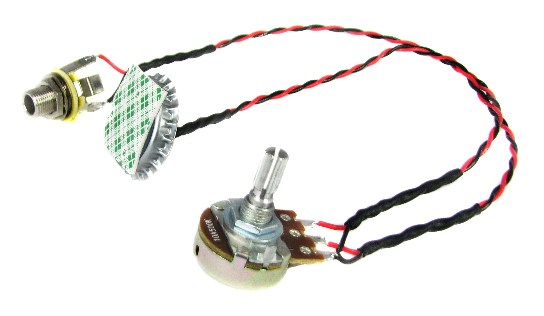 Cigar Box Guitar Parts: ''Cap-o-Tone'' Pre-Wired Bottle Cap Piezo Pickup Harness with Volume Control