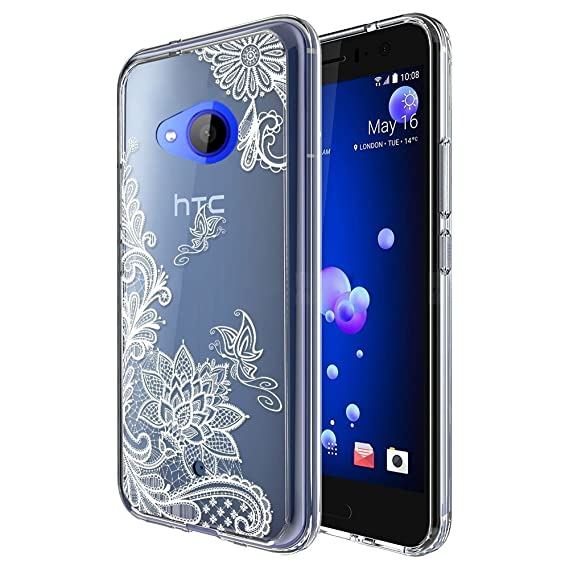 huge discount 6c309 e1628 HTC U11 Life Case, (Not Fit HTC U11), Skmy Shockproof Hard PC+ TPU Bumper  Case Scratch-Resistant Cover for HTC U11 Life (Lace Flower)