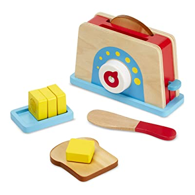 Melissa & Doug Bread and Butter Toaster Set (9 pcs) - Wooden Play Food and Kitchen Accessories: Toys & Games