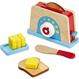 Melissa & Doug 9344 Bread and Butter Toaster Set (9 pcs) - Wooden Play Food and Kitchen Accessories