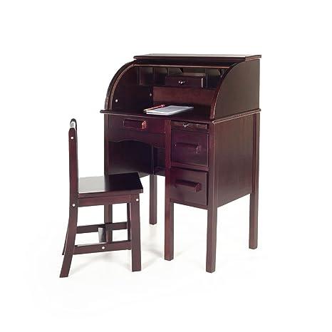 Guidecraft Jr. Roll Top Study Desk And Chair Set Espresso   Dark Cherry  Storage