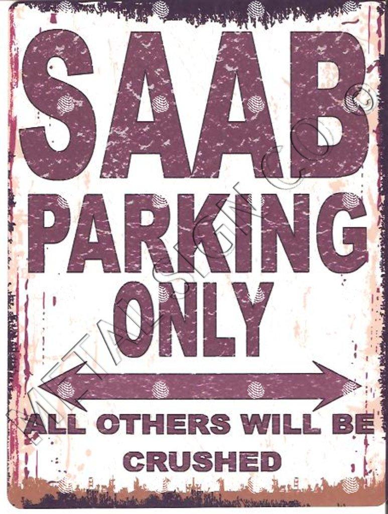 SAAB de parking Sign Petite 15 x 20 cm r/étro Bo/îte en m/étal de style vintage D/écoration murale Abri Atelier Garage Classic Cars