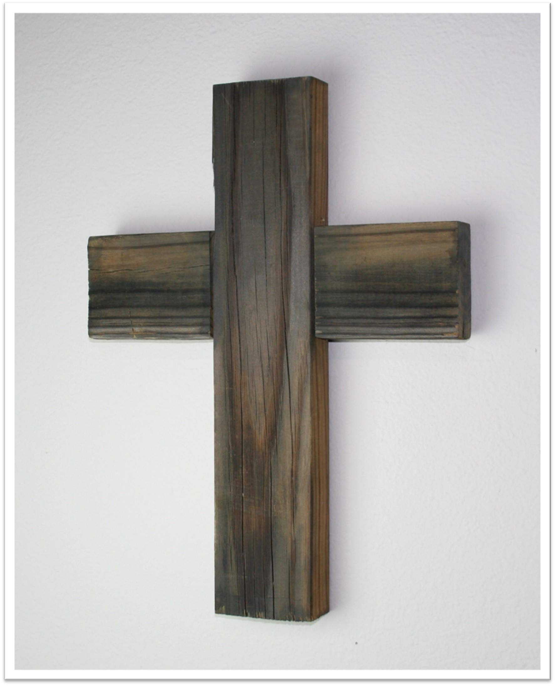Rustic Wood Cross 12 x 16 100% Reclaimed Weathered Wood (Thick Cross)