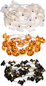 EAMBRITE 3PK Halloween String Light 10.75FT 30LT LED Ghosts Pumpkins Bats Micro LED String Lights Battery Powered with 8 Modes for Window Porch Stair Bar Indoor and Outdoor Halloween Decor