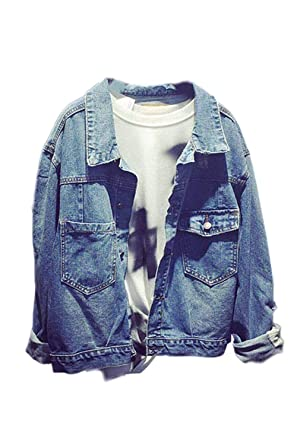Jeansjacke Damen Elegant Coat Frühling Herbst Langarm Revers Loose Jacke  Unifarben Kleidung Classic Casual Young Fashion Mädchen Outerwear Blau   Amazon.de  ... 2a4f233596