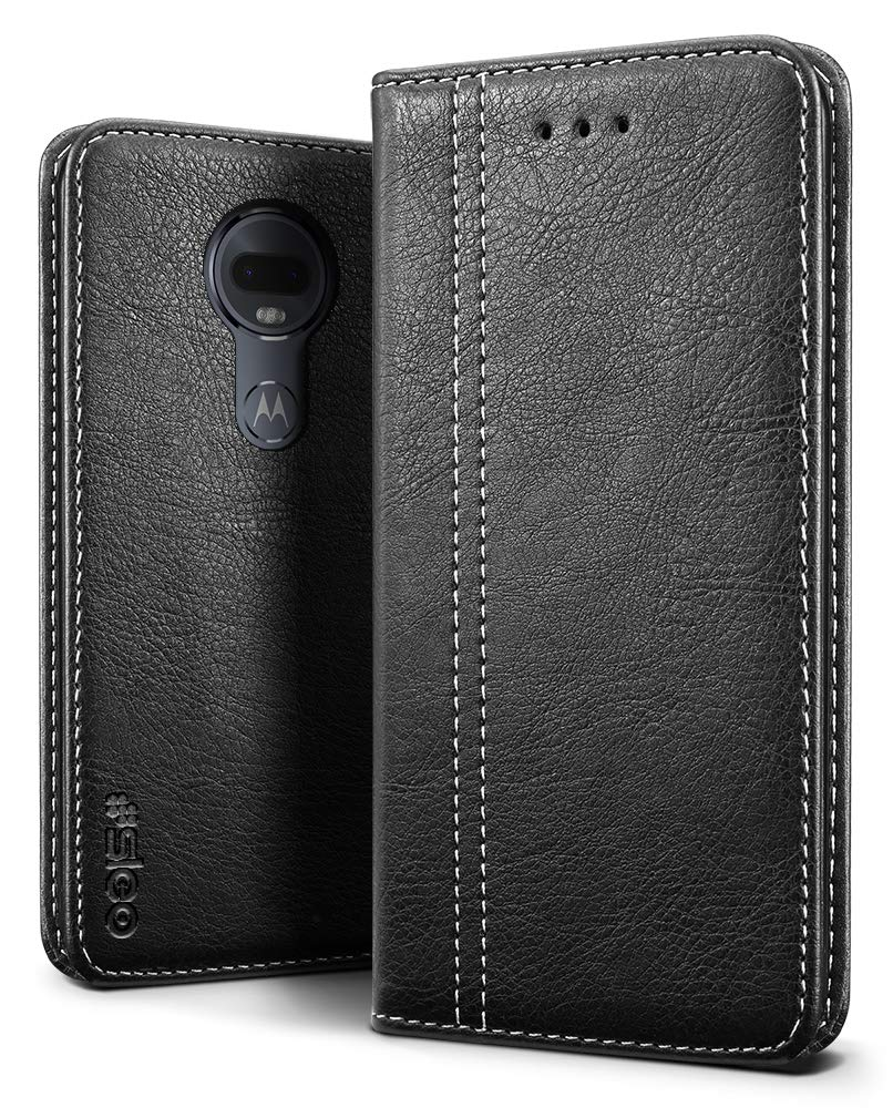 huge discount 3e1de b3342 SLEO Case for Moto G7/Moto G7 Plus Case, Luxury Retro Wallet Premium  Leather Flip Case, [Slim Fit] Soft Tactile Elegant Phone Cover with  Embedded ...