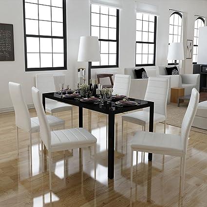 Festnight Set Tavolo Da Pranzo Tavolo Cucina Con Sedie 7 Pezzi Nero E Bianco Amazon It Casa E Cucina