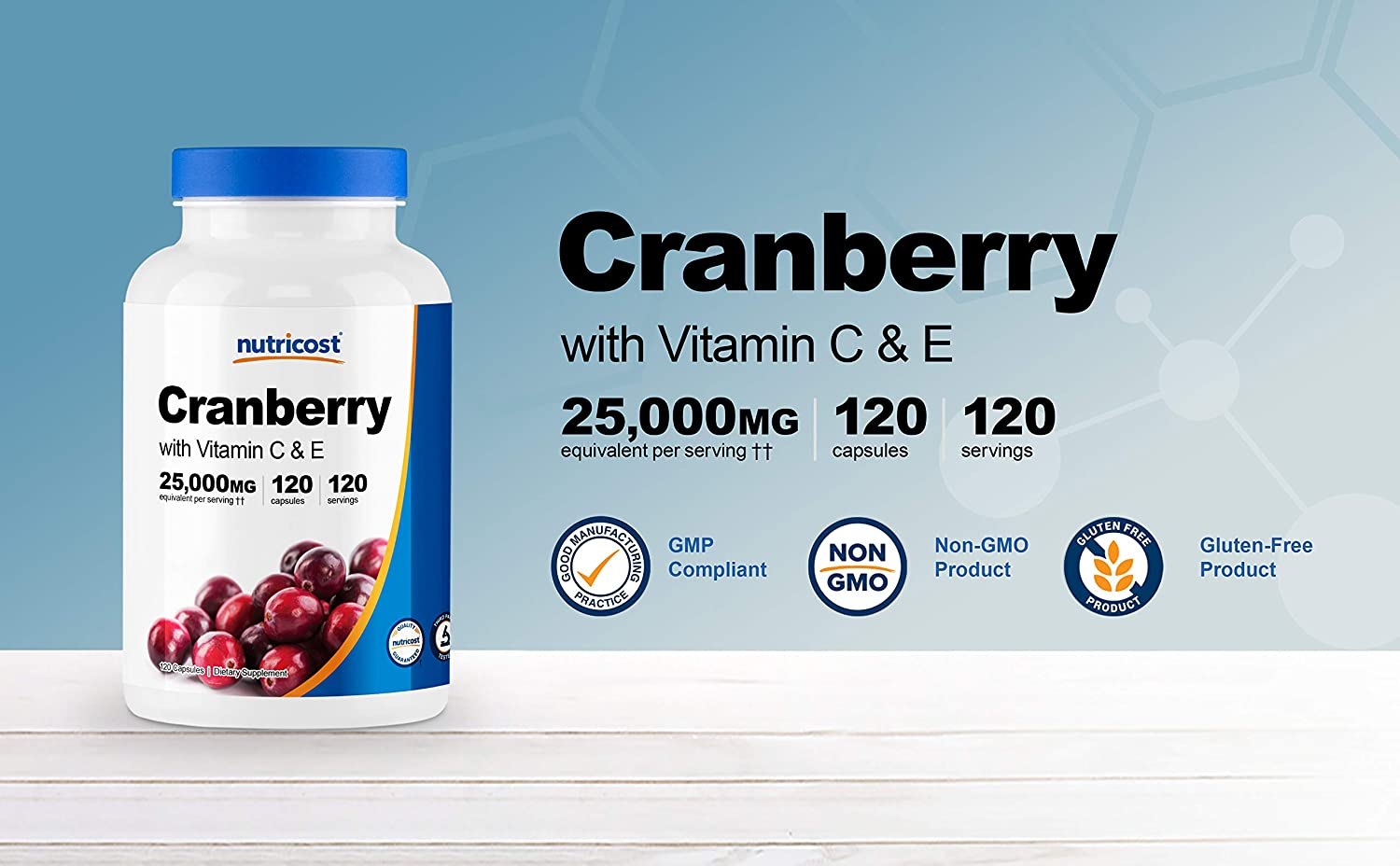 Nutricost Cranberry Extract (25,000mg) (120 Capsules) with Vitamin C & Vitamin E: Health & Personal Care