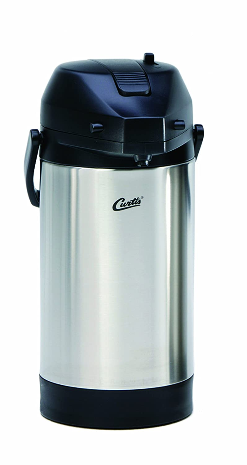 Wilbur Curtis Thermal Dispenser Air Pot, 2.5L S.S. Body S.S. Liner Lever Pump - Commercial Airpot Pourpot Beverage Dispenser - TLXA2501S000 (Each)