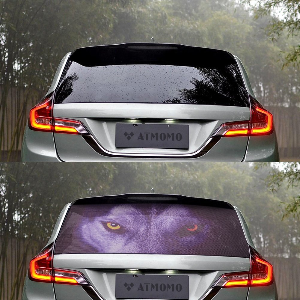 ATMOMO Horror Ghost 3D Transparent Car Back Rear Window Decal Vinyl Sticker for Happy Halloween
