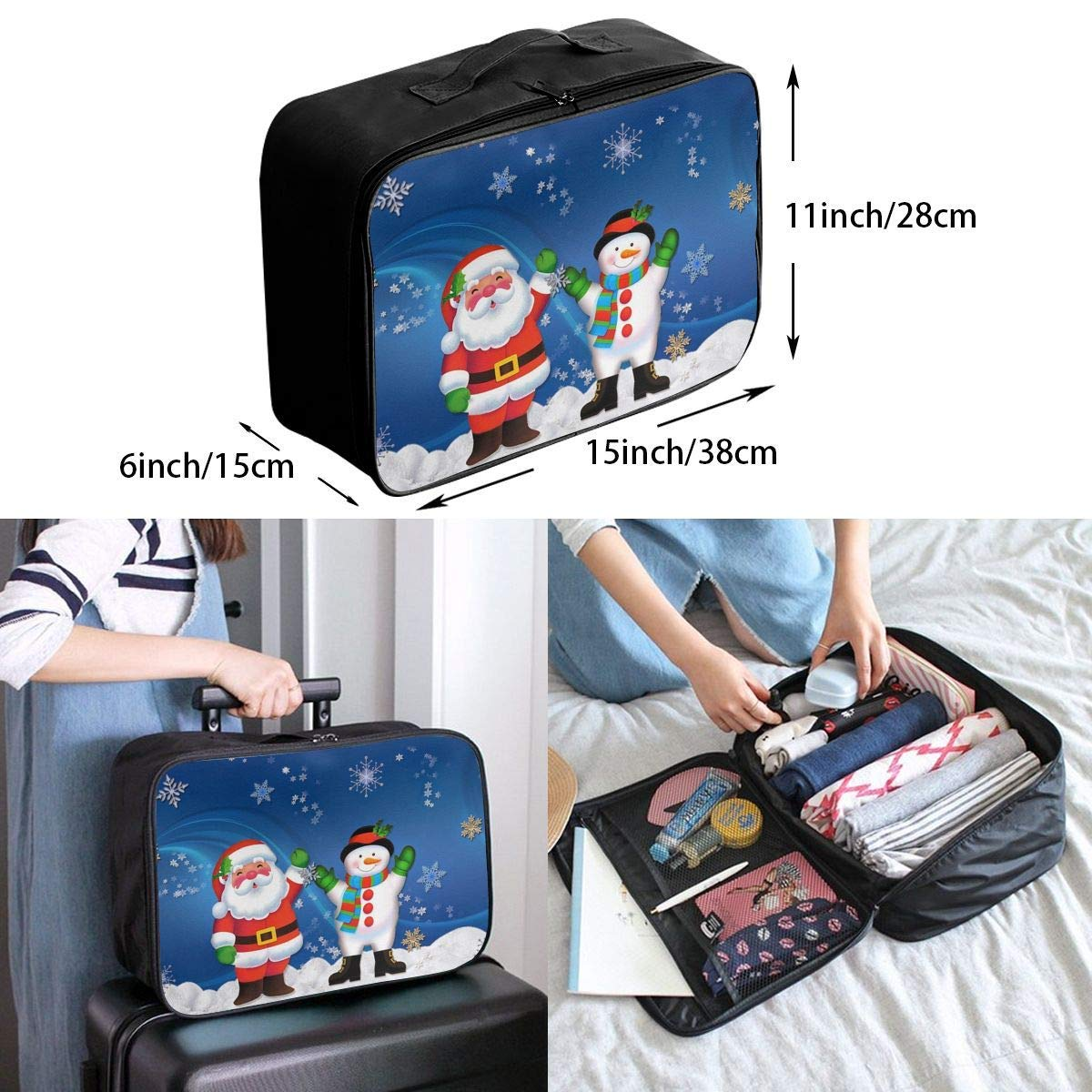 Lightweight Large Capacity Portable Duffel Bag for Men /& Women Snowman Santa And Kid Christmas Travel Duffel Bag Backpack JTRVW Luggage Bags for Travel