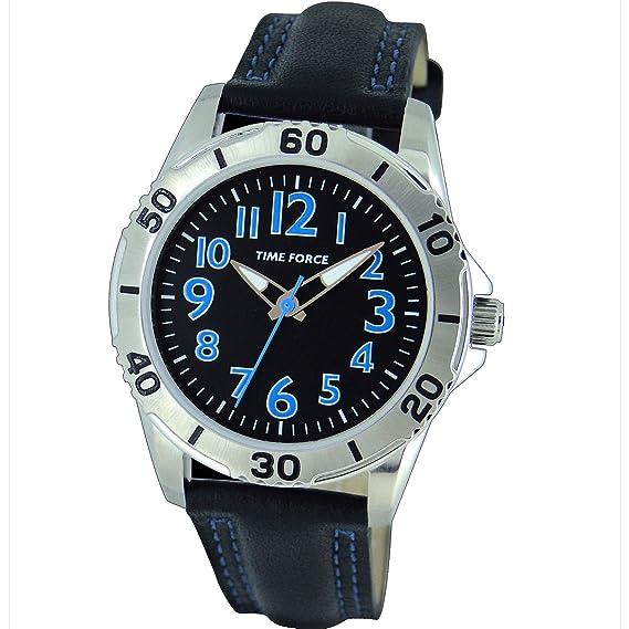 Time Force TF-4137B01 - Reloj analógico para Chico. Correa de Piel de vaca color Negro.: Amazon.es: Relojes