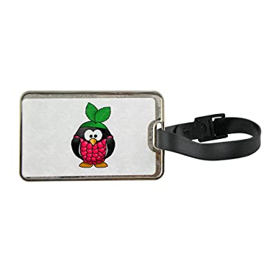 Metal luggage tag with Raspberry penguin