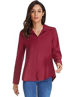 44edc1734e5 ARJOSA Women s Chiffon Long Sleeve Button Down Casual Shirt Blouse ...