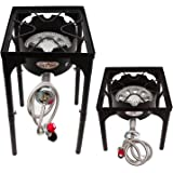 GAS ONE Portable Propane 200,000-BTU High-Pressure Single-Burner Outdoor Beer Brewing Burner with Adjustable Height CSA Listed 0-20PSI High Pressure Regulator and Hose Perfect for Beer Brewing