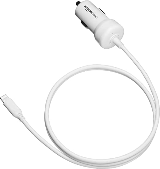 1.5 Foot 5V 12W Basics Coiled Cable Lightning Car Charger White