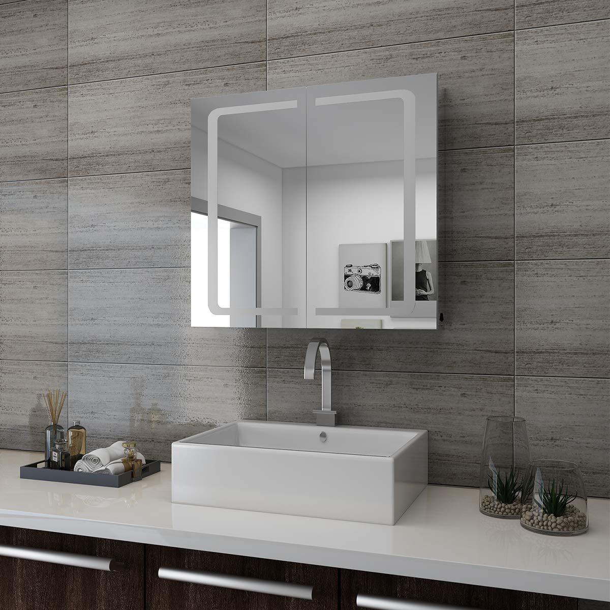 SONNI LED Spiegelschrank 2t/ürig 70 x 65 x13cm Badezimmerspiegel wandschrank Badschrank mit Beleuchtung mit Steckdose