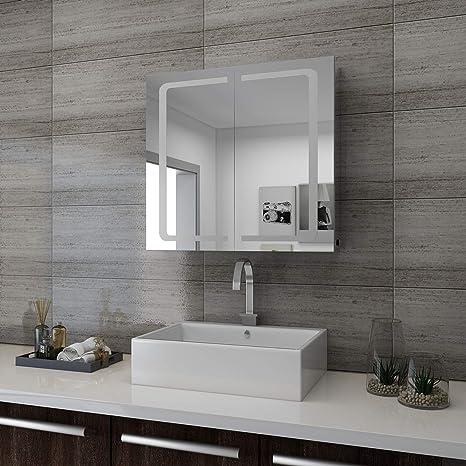 Superb Sunnyshowers LED Spiegelschrank 2türig 70 X 65 X13cm Badezimmerspiegel  Wandschrank Badschrank Mit Beleuchtung Mit Steckdose