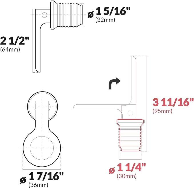 "Marine Rubber Drain Plug Snap 1 1//4/"" Pair Five Oceans FO-3834-M2-1"